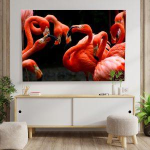 Textile frame - Flamingos (id8).