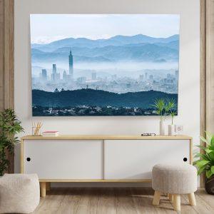Textielframe – Taipei in de mist (id24)